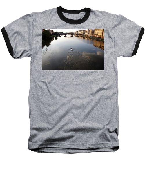 Solitary Sculler Baseball T-Shirt by Debi Demetrion