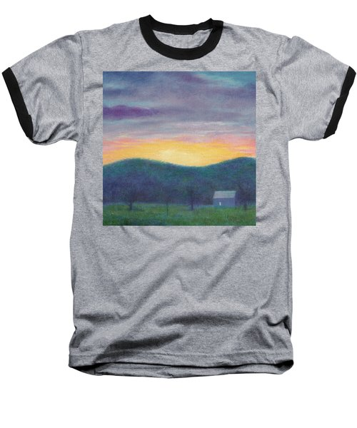 Baseball T-Shirt featuring the painting Blue Yellow Nocturne Solitary Landscape by Judith Cheng