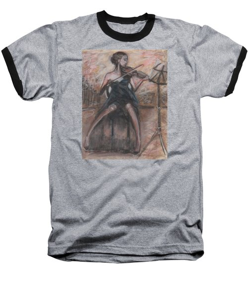 Baseball T-Shirt featuring the painting Solo Concerto by Jarmo Korhonen aka Jarko