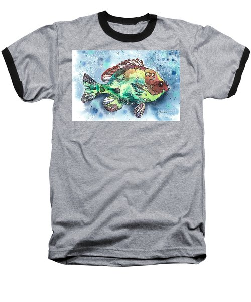 Baseball T-Shirt featuring the painting Something's Fishy Two by Barbara Jewell