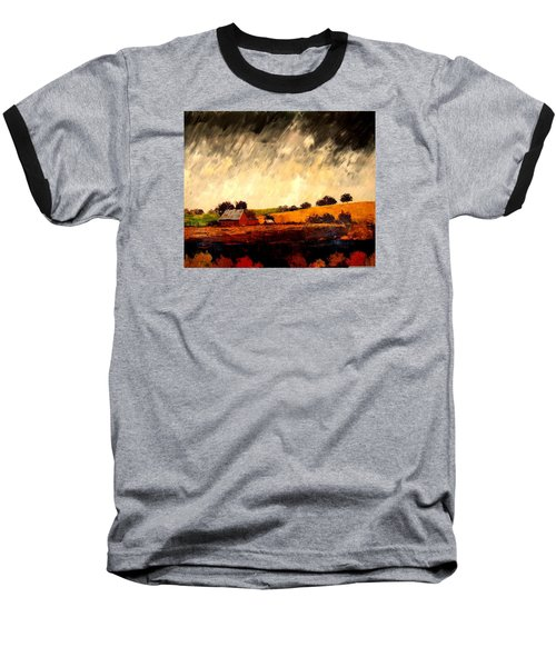Baseball T-Shirt featuring the painting Somewhere Else by William Renzulli