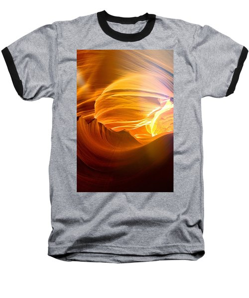 Baseball T-Shirt featuring the photograph Somewhere In America Series - Gold Colors In Antelope Canyon by Lilia D