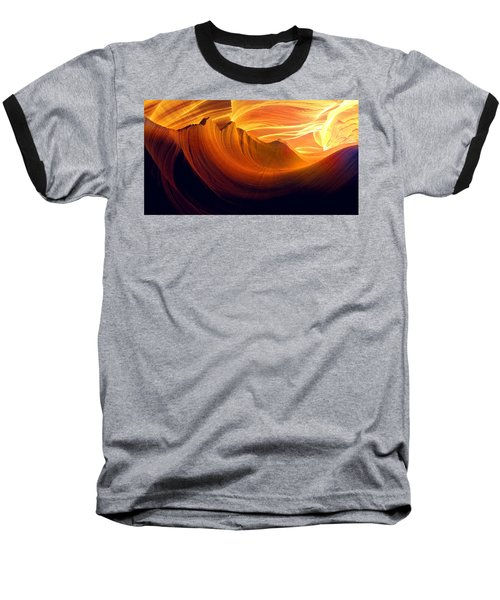 Baseball T-Shirt featuring the photograph Somewhere In America Series - Golden Yellow Light In Antelope Canyon by Lilia D