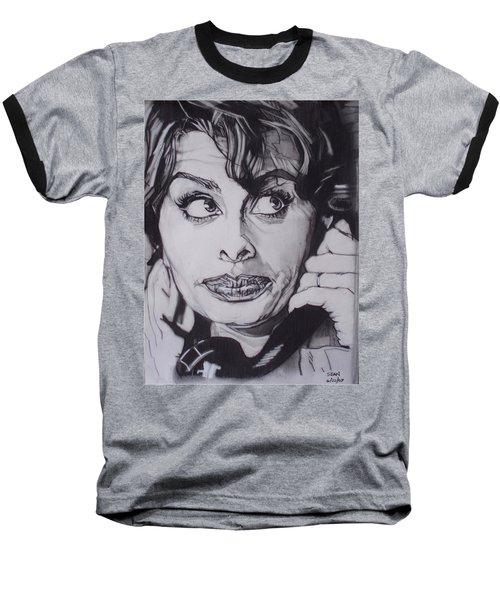 Sophia Loren Telephones Baseball T-Shirt by Sean Connolly