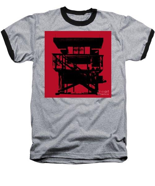 Baseball T-Shirt featuring the digital art South Beach Lifeguard Stand by Jean luc Comperat