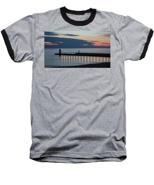South Haven Michigan Lighthouse Baseball T-Shirt by Adam Romanowicz