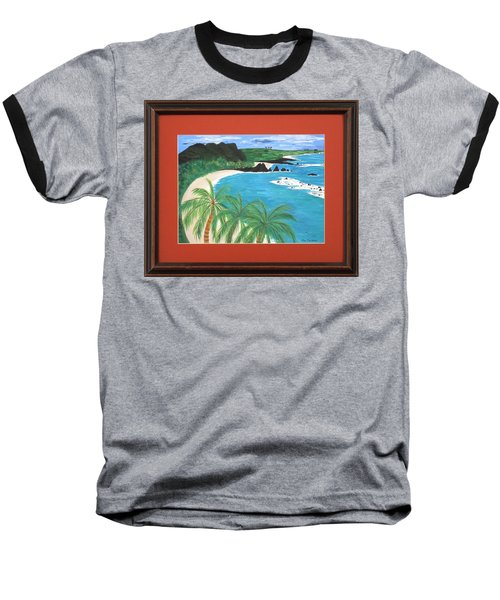 Baseball T-Shirt featuring the painting South Pacific by Ron Davidson