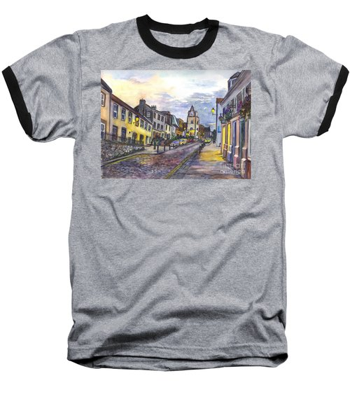 Baseball T-Shirt featuring the painting Nightfall At South Queensferry Edinburgh Scotland At Dusk by Carol Wisniewski