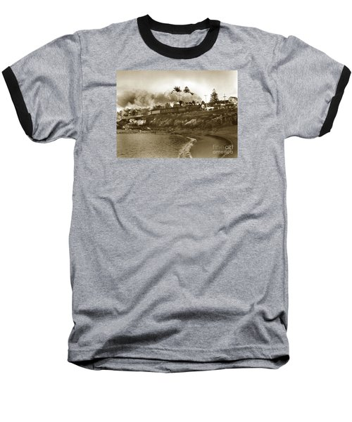 Southern Pacific Del Monte Passenger Train Pacific Grove Circa 1954 Baseball T-Shirt by California Views Mr Pat Hathaway Archives