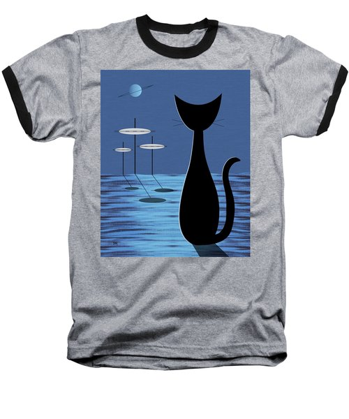 Space Cat In Blue Baseball T-Shirt