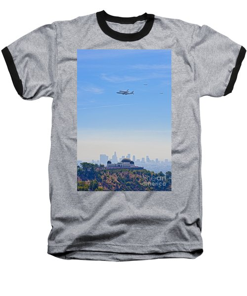 Space Shuttle Endeavour And Chase Planes Over The Griffith Observatory Baseball T-Shirt