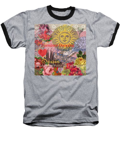 Spain Vintage Trendy Spain Travel Collage  Baseball T-Shirt