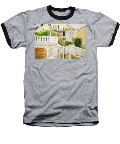 Baseball T-Shirt featuring the painting Spanish Steps by Carol Flagg
