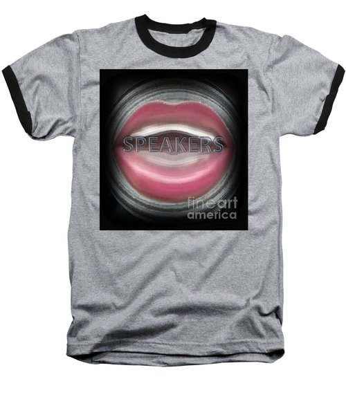 Baseball T-Shirt featuring the digital art Speakers by Catherine Lott