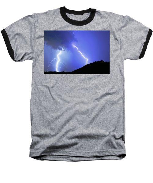 Spectacular Double Lightning Strike Baseball T-Shirt