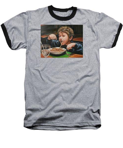 Spaghetti Boy Baseball T-Shirt by Melinda Saminski