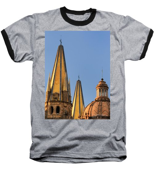Baseball T-Shirt featuring the photograph Spires And Dome - Cathedral Of Guadalajara Mexico by David Perry Lawrence