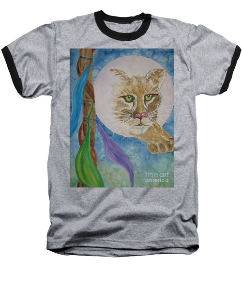 Baseball T-Shirt featuring the painting Spirit Of The Mountain Lion by Ellen Levinson