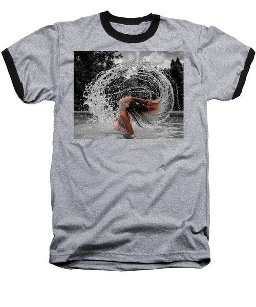 Hair Flip Splash Baseball T-Shirt by Brian Caldwell