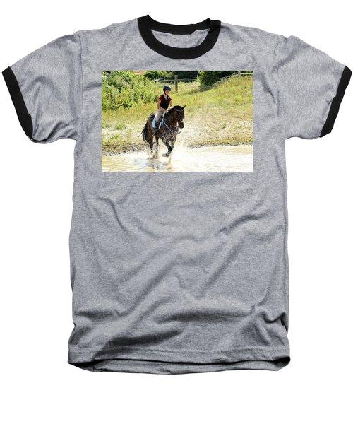 Splashing Thru Water Jump Baseball T-Shirt