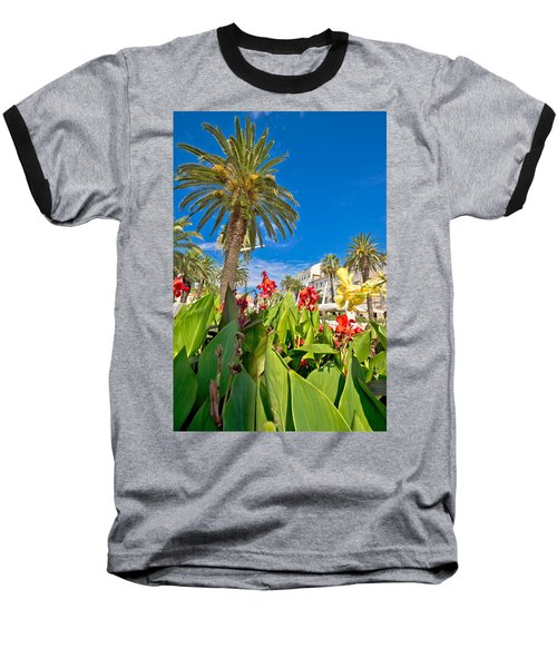 Split Riva Palms And Flowers Baseball T-Shirt by Brch Photography