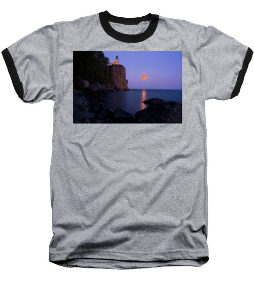 Split Rock Lighthouse - Full Moon Baseball T-Shirt