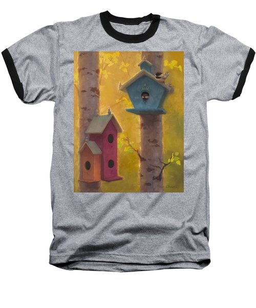 Spring Chickadees 2 - Birdhouse And Birch Forest Baseball T-Shirt by Karen Whitworth