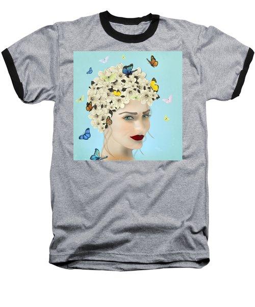 Spring Face - Limited Edition 2 Of 15 Baseball T-Shirt by Gabriela Delgado
