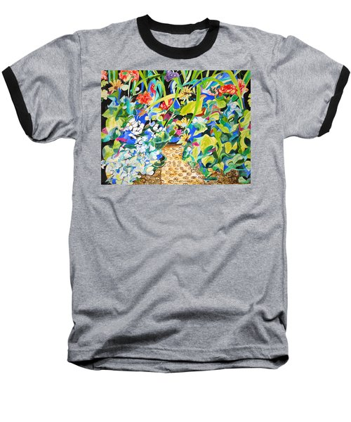Spring Flowers In A Brown Basket Baseball T-Shirt by Esther Newman-Cohen