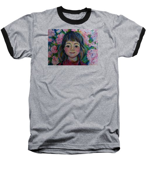 Baseball T-Shirt featuring the drawing Spring Girls. Part One by Anna  Duyunova