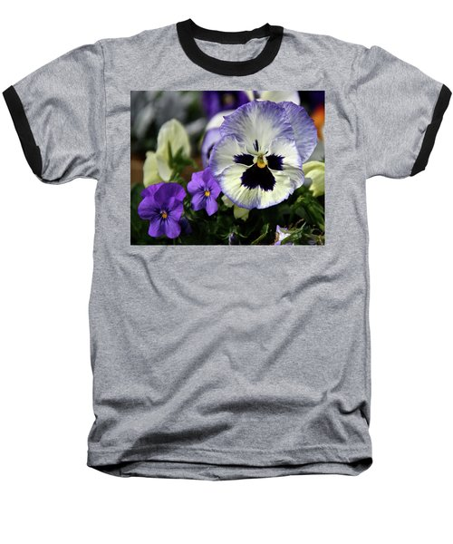 Spring Pansy Flower Baseball T-Shirt by Ed  Riche