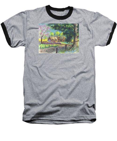 Baseball T-Shirt featuring the painting Springtime Cottage by Carol Wisniewski
