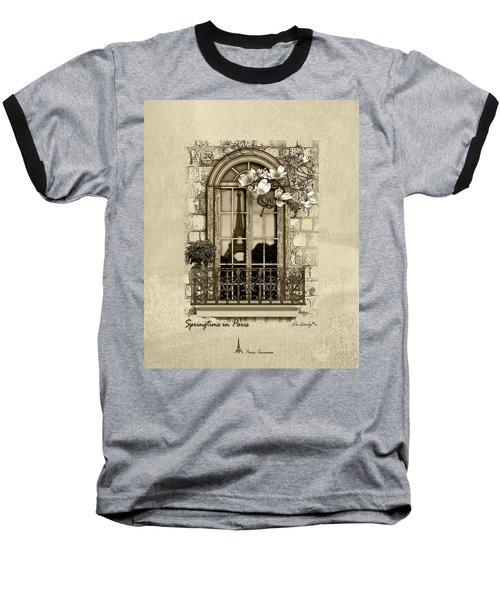 Springtime In Paris In Sepia Baseball T-Shirt