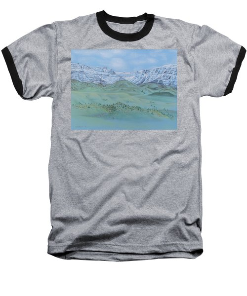Baseball T-Shirt featuring the pastel Springtime In The Rockies by Michele Myers