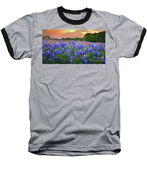 Springtime Sunset In Texas - Texas Bluebonnet Wildflowers Landscape Flowers Paintbrush Baseball T-Shirt by Jon Holiday