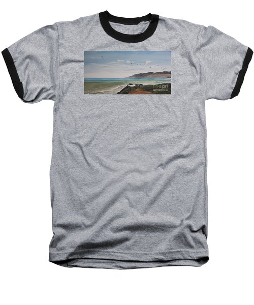 Squadron Of Pelicans Central Califonia Baseball T-Shirt by Ian Donley