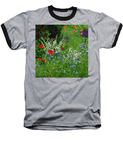 Squarely Spring Floral Garden Baseball T-Shirt