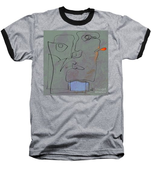 Baseball T-Shirt featuring the painting Squigglehead With Blue Scarf And Red Ear  by Paul Davenport