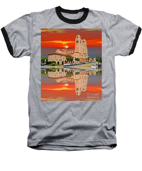 St Anne Church Of The Sunset In San Francisco With A Reflection  Baseball T-Shirt by Jim Fitzpatrick