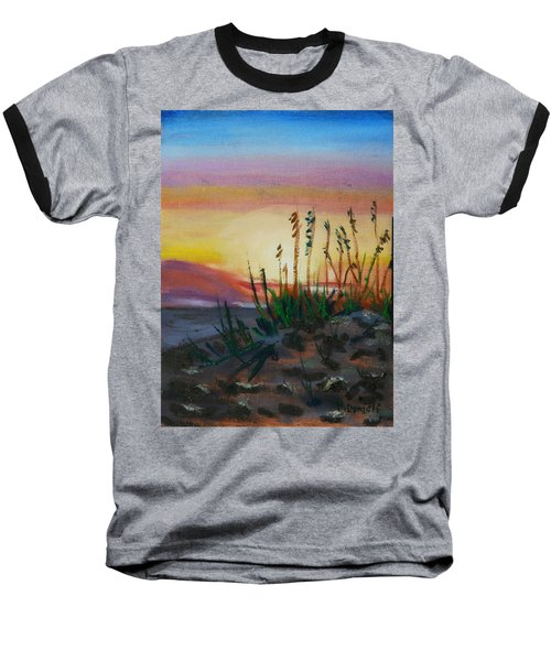 Baseball T-Shirt featuring the painting  Beach At Sunrise by Michael Daniels