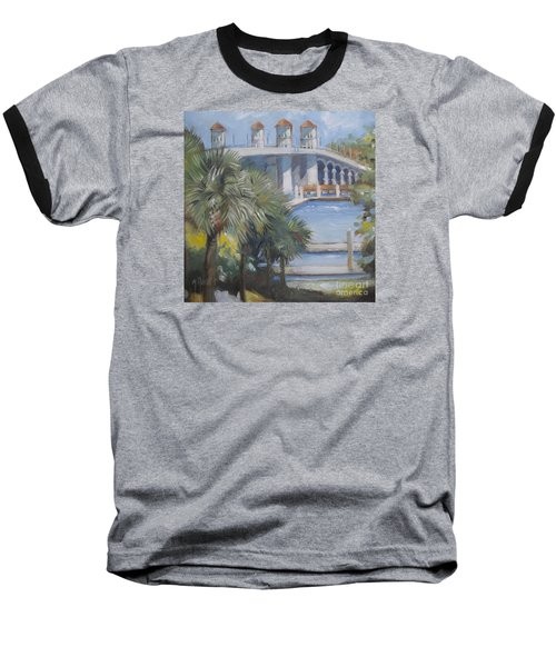 St Augustine Bridge Of Lions Baseball T-Shirt by Mary Hubley