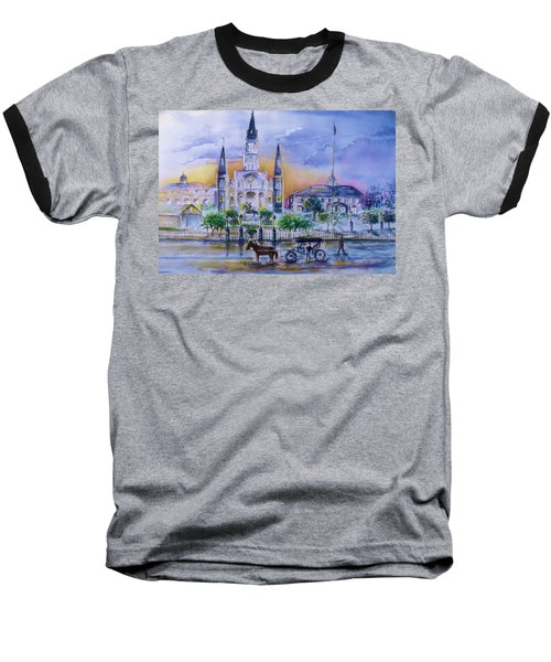 Baseball T-Shirt featuring the painting St. Charles New Orleans Sunset by Bernadette Krupa