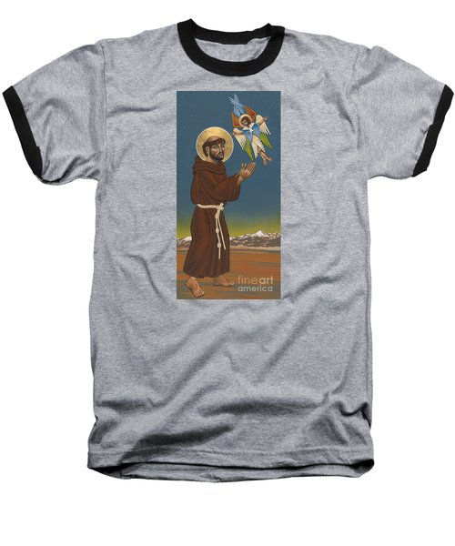 Baseball T-Shirt featuring the painting St. Francis Patron Of Colorado 186 by William Hart McNichols