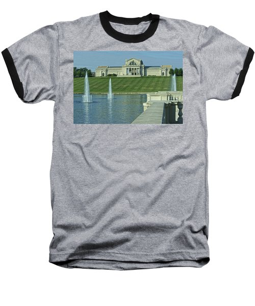 St Louis Art Museum And Grand Basin Baseball T-Shirt by Greg Kluempers