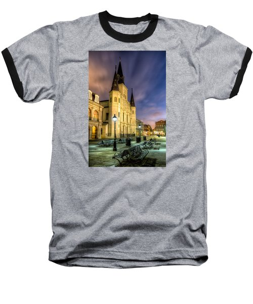 Baseball T-Shirt featuring the photograph St. Louis Cathedral At Dawn by Tim Stanley