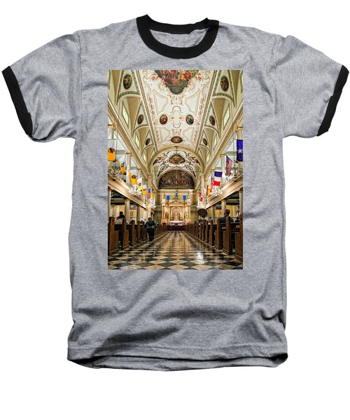 St. Louis Cathedral Baseball T-Shirt by Steve Harrington