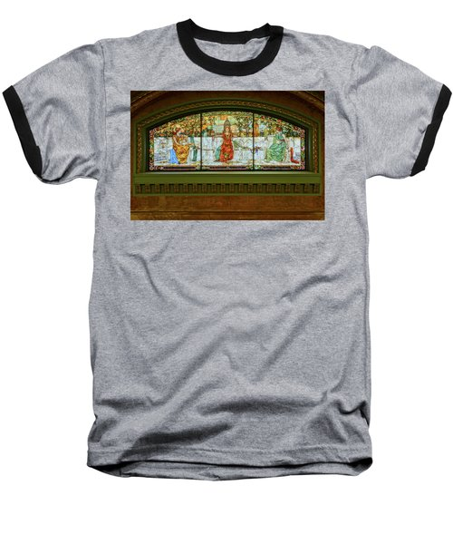 St Louis Union Station Allegorical Window Baseball T-Shirt by Greg Kluempers