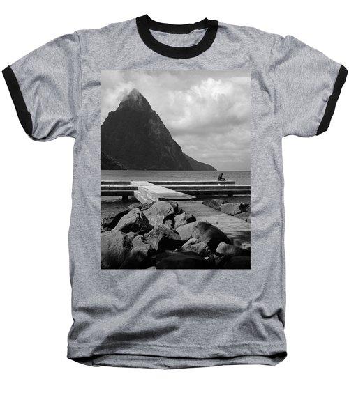 St Lucia Petite Piton 5 Baseball T-Shirt by Jeff Brunton