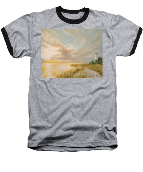 Baseball T-Shirt featuring the painting St Marks Lighthouse by Alan Lakin
