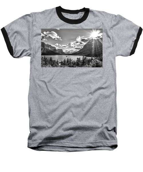 St. Mary Lake Bw Baseball T-Shirt by Aaron Aldrich